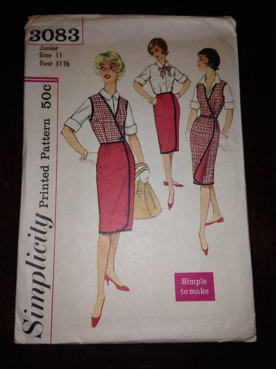Vintage 50s Simplicity 3083 Sewing Pattern Junior and Teens Reversible Wrap Around Skirt Weskit and Blouse Size 11