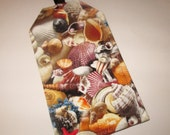 Luggage Tag Sea Shells Designer Fabri  Travel Cruise Accessory  ID  Gift Card Holder Ocean Seashells beach bag tag Destination Wedding