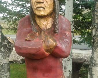 Native American Sculpture, Indian Sculpture, life-sized western art sculpture - wooden indian, Cigar Store Indian - wood carving, wood art