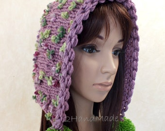 Hand Knit Adult Elf Pixie Hood Hat Super Chunky Pom Poms Plum Purple Merino Wool Womens Accessories Colorful Flowers Multicolor Winter