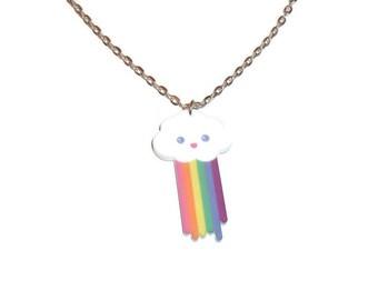 Pooping Rainbow Cloud Necklace Cute Kawaii Funny Rainbow Poop Pendant