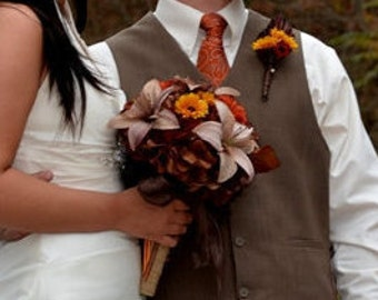 Tiger Lily Wedding Bouquet - Silk Flower Bridal Bouquet, SOLD-Customized To Your Wedding Colors