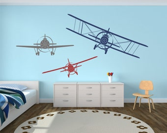 Airplane Wall Decals, Set of Three Planes, Biplane and Single Wing Airplanes, Airplane Decor, Airplane Nursery, Plane Decal - WD0223