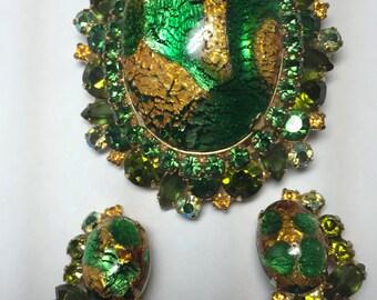 D&E aka Juliana Green with Gold Foil Art Glass Dome Demi    Item: 15310