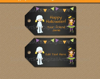 Girl Halloween Tags, Halloween Party Tags, EDITABLE Halloween Tags, Witch Halloween Printables, Halloween Gift Tags, Halloween Download HCBK