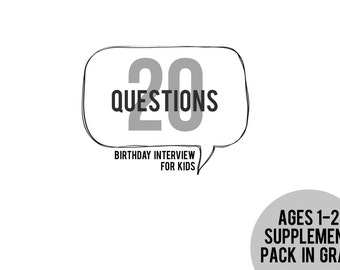 20 Questions Ages 1-2 Supplement Pack in GRAY