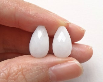 A Grade White Quartzite Half Top Drilled Faceted Teardrop Briolettes 8x13 mm One Pair Perfect for earrings K4374