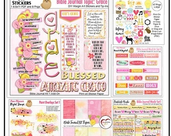 Bible Journal Kit Amazing Grace (Set 1) BOTH Printable & Digital Kits. PDFs or PNG Drag and Drop in Image Editor  (PSE)