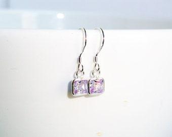 Cubic zirconia earrings - lavender earrings - sterling silver earrings - square earrings - purple earrings - lilac earrings - cz earrings