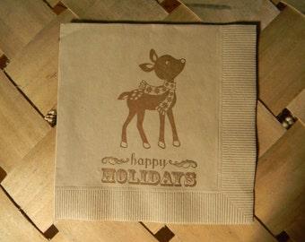 Light Burlap Baby Reindeer Rudolph Happy Holidays Christmas Napkins in Coffee ink - Set of 50