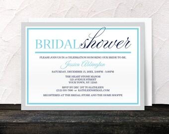 Modern Bridal Shower Invitations - Navy Aqua Blue and Gray - Printed Invitations