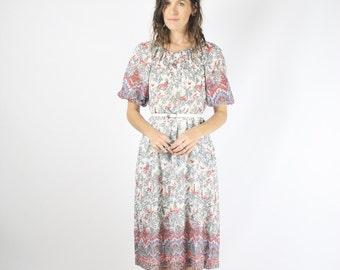 Whimsical Vintage Dress, Japanese vintage Ethnic floral patterned dress, Boho dress, Small