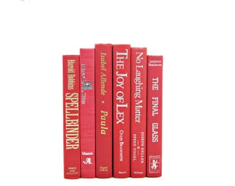Ruby Red BOok Decor, Decorative Books, Old Books, Pink Book Set, Wedding Decoration, VIntage Book Collection, Home Decor, Book Stack