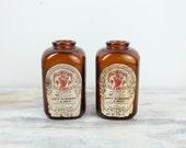 Vintage Levi Garrett Amber snuff bottles w/ original labels (set of 2)