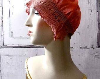 1920's Boudoir Cap Pink Silk with Cotton Crochet Flapper Lingerie Accessories
