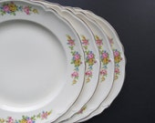 7 Knowles China Plates // Vintage Antique Set of Seven Floral Pattern Dinner Plates Semi-Vitreous Edwin M. Knowles 1939 Elegant China Dishes