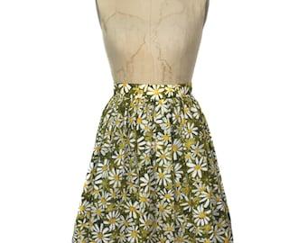 vintage 1960's daisy petal skirt / floral flowers / silk blend / spring summer / women's vintage skirt / size small
