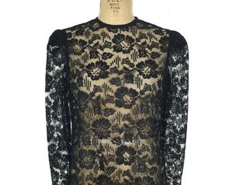 vintage 1980s lace blouse / black / floral / women's vintage blouse / size medium