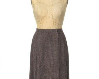 vintage 1970s ELLEN TRACY wrap skirt / wool blend / pleated skirt / tweed skirt / women's vintage skirt / size 6