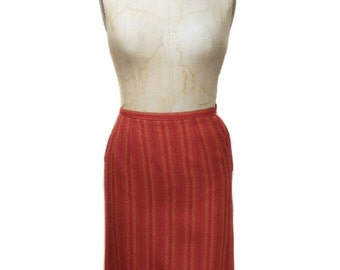 vintage 1950s striped pencil skirt / Petti Junior Sportswear / red orange / wool / ombre / women's vintage skirt / size 9/10