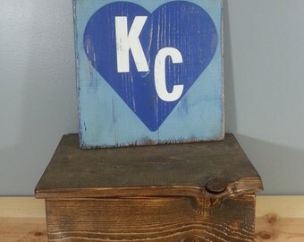 Kansas City Love- KC in a Heart - Light Blue, Dark Blue,  and White - Rustic, Distressed, Wooden, Hand Painted Sign 12x12