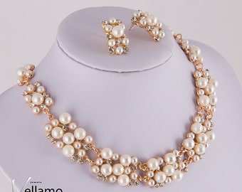 Luxury pearl bridal Jewelry Set, Gold Wedding Jewelry Sets, fancy crystals white pearls party jewellery sets for brides, necklace earrings
