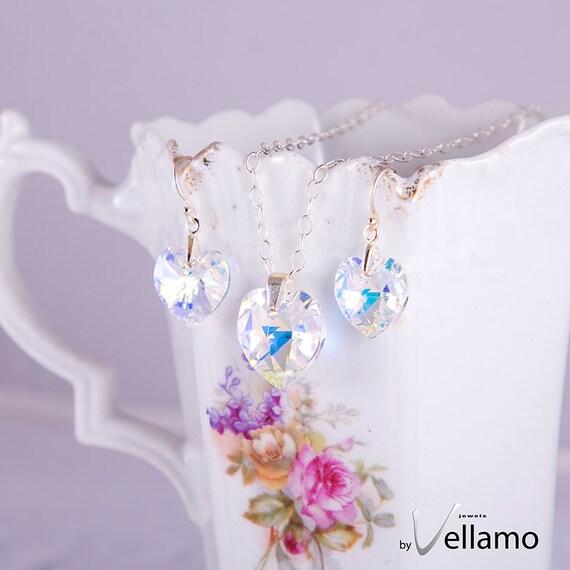 Swarovski Aurora Borealis heart jewelry set, sterling silver Swarovski crystal necklace, pendant, earrings jewelry set, AB golden effect