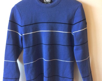 Lido of California Apres Ski Sweater Wool Blue Women's Small - Medium Vintage