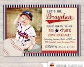 Baseball Birthday Invitation - Vintage Baseball Birthday Invitation - Baseball Party - Slugger Birthday Invitation - DIY Custom Printable