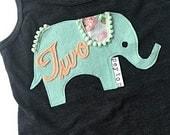 "Swanky Shank Personalized Elephant Birthday Tank ""Two by Two"""