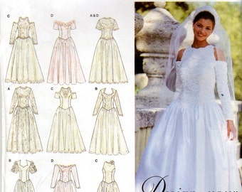 "Versatile Wedding Dress or Gown Pattern - Size 10, 12, 14, Bust 32 1/2"", 34"", 36"" - Simplicity 8888 uncut"