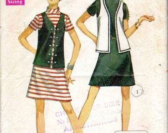 "Easy 1960s Women's Dress & Vest Pattern- Size 10, Bust 32 1/2"" - Simplicity 8334, Jiffy"