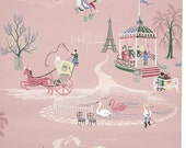 REMNANT of Vintage Wallpaper, Single 24 Inch Piece - Segmant of Novelty Wallpaper with French Pink Poodle Eiffel Tower Hot Air Balloon Swans