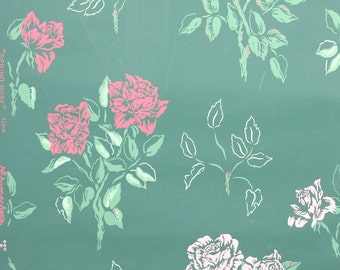 REMNANT of Vintage Wallpaper, Single 42 Inch Piece - Segmant of Floral Wallpaper with Pink Roses on Dark Green