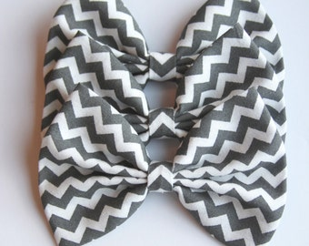 SALE - Nikki Hair Bow - Gray And White Chevron Pattern Hair Bow with Clip