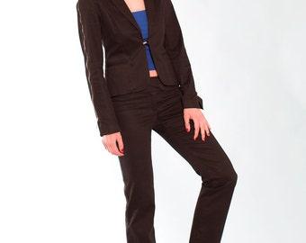 Black cotton suit Maska // 90s // M size