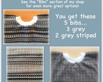 5 Towel bibs - grey set black gray stripe towel bibs, assorted, bibs - boy girl dish towel - kitchen towel bib, grey baby bibs black