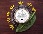 All Purpose Healing Salve For Cracked Skin, Burns, and Minor Nerve Damage 2oz tin - Organic Herbs St. Johns Wort Comfrey Calendula