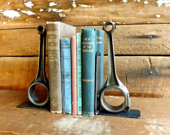Connecting rod bookends Piston bookends Industrial bookends Steampunk bookends Factory bookends Library table Office decor Book shelf end