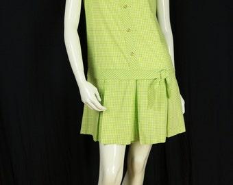 70s womens romper Vintage one piece shorts Summer cotton jumpsuit Drop waist mini scooter dress Checkered playsuit Women plaid romper S