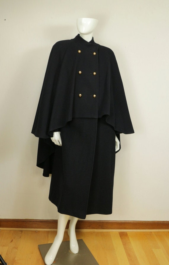 Wool Cape Coat Double Breasted Long Coat Womens Vintage