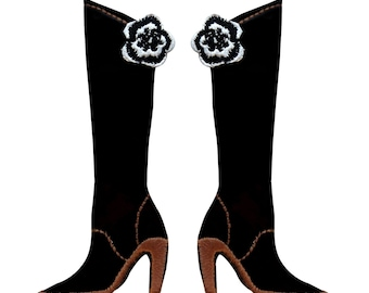 ID 9202AB Set of 2 Vinyl Knee-High Boot Pair Patches Fashion Iron-On Appliques