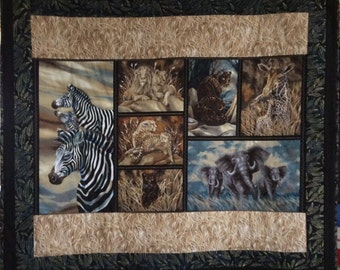 Beautiful African Animal Wall Hanging / Lap Quilt