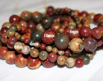 Picasso Jasper Beads - Round beads - PICK SIZE 4mm, 6mm, 8mm, 10mm - 15 inch strand- Round Beads, Gemstone Beads, Semi Precious Beads