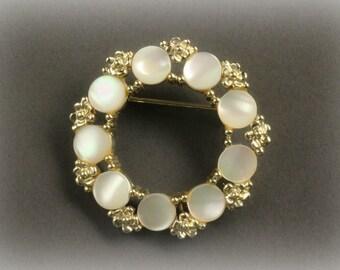Vintage Rhinestone Brooch, Mother of Pearl, Gold  Tone Circle pin Brooch