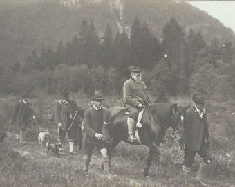 Hunting the Tyrol - Vintage 1930s Men, Horses and Hounds Silver Gelatin Real Photo Postcard