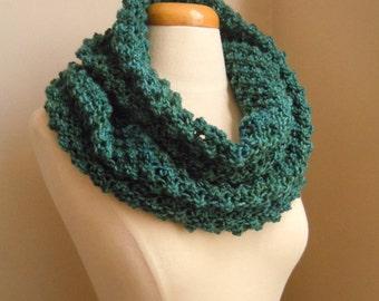 Merino wool long cowl - Teal