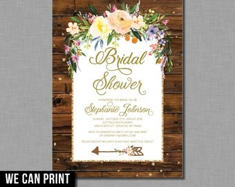 Bridal Shower Invitation arrow wood floral BT72 Digital or Printed