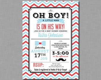 Mustache Baby Shower Invitation Little Man Baby Boy vintage blue red Mason BD10 Digital or Printed