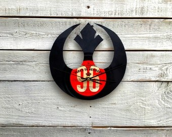 Rebel Alliance Clock | Vinyl Record •  Upcycled Recycled Repurposed • Star Wars • Handmade • Silhouette Portrait • Shadow Art • Unique Gift